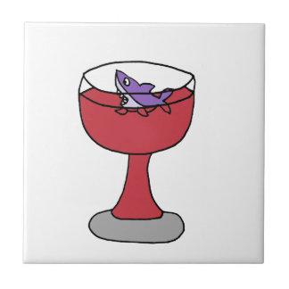 赤ワインガラスのおもしろいな鮫 タイル