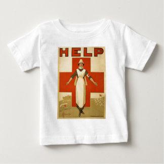 赤十字分野のナースポスター読書助け ベビーTシャツ