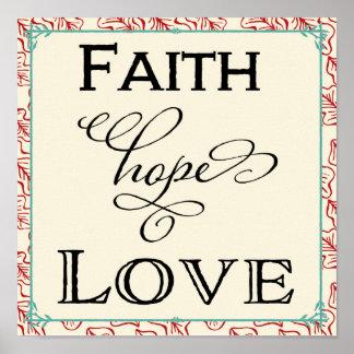 赤及びターコイズの信頼の希望愛タイポグラフィポスター ポスター