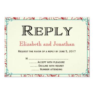赤及びターコイズの素朴な結婚式の応答RSVPカード 8.9 X 12.7 インビテーションカード