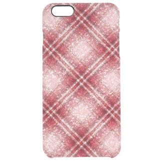 赤及びピンクのグリッターの効果のタータンチェック クリア iPhone 6 PLUSケース