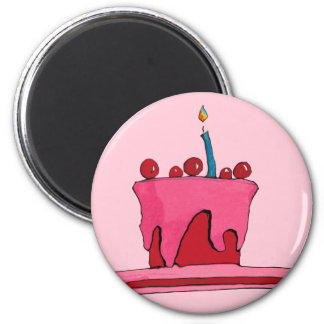 赤及びピンクのケーキのピンクの磁石 マグネット