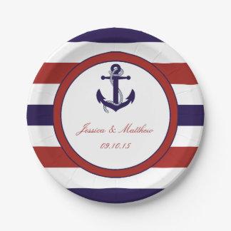 赤及び海軍航海のないかりの結婚式のコレクション ペーパープレート