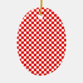 赤及び白によって点検されるパターン セラミックオーナメント