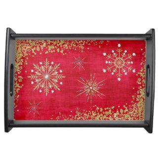 赤及び金ゴールドのクリスマスの雪片 トレー
