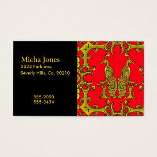 赤及び金ゴールドのケルト族の装飾用の鳥 名刺