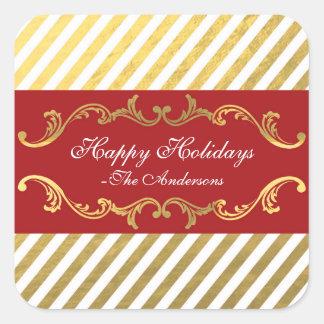 赤及び金ゴールドのストライプのなクリスマスの休日のステッカー スクエアシール