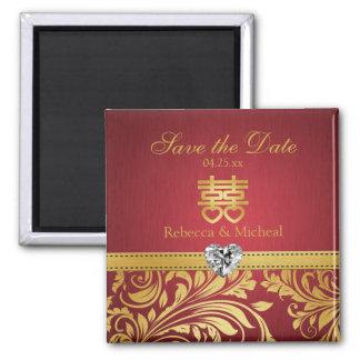 赤及び金ゴールドのダマスク織、中国のな二重Happipness マグネット