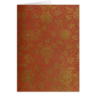赤及び金ゴールドのブロケードNotecard カード