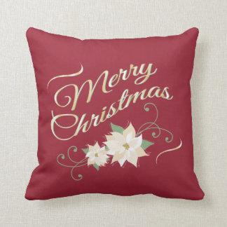 赤及び金ゴールドのメリークリスマス及び白いポインセチア クッション