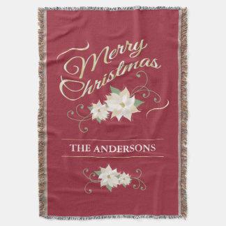 赤及び金ゴールドのメリークリスマス及び白いポインセチア スローブランケット