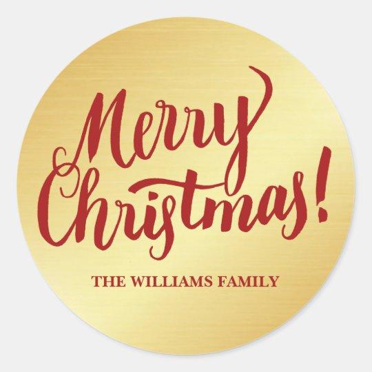 赤及び金ゴールドの名前入りなクリスマスの封筒用シール ラウンドシール