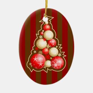 赤及び金ゴールドの地球のクリスマスツリー セラミックオーナメント