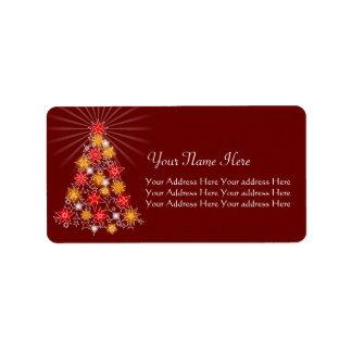 赤及び金ゴールドの星のクリスマスツリー ラベル