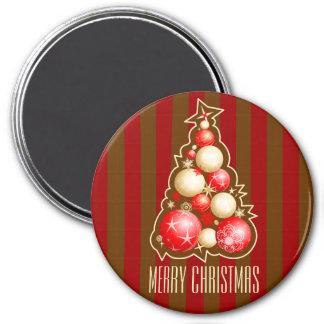赤及び金ゴールドの泡クリスマスツリー マグネット