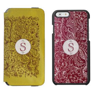 赤及び金ゴールドの花のモノグラムのIncipioのiPhone6ケース Incipio Watson™ iPhone 6 ウォレットケース
