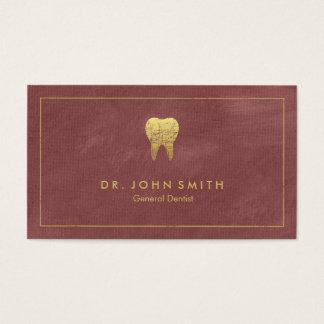 赤味がかったキャンバスの金フレーム及び歯-歯科医 名刺