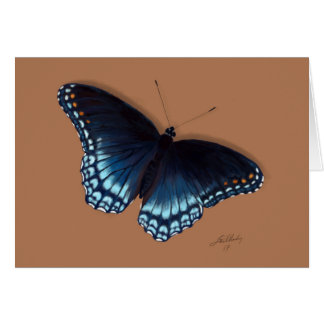 赤斑点を付けられた紫色の海軍大将Blue Butterfly Painting カード