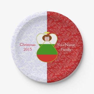 赤毛のブルガリアの旗の天使の赤い白 ペーパープレート