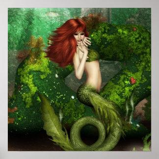 赤毛の人魚のプリント ポスター