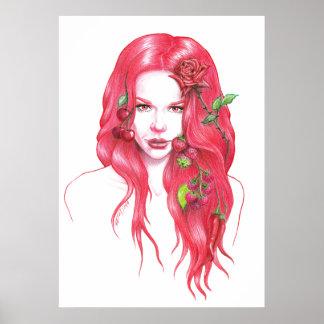 赤毛の女性のポートレートポスタープリント ポスター