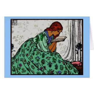 赤毛の女性緑の服の読書 カード