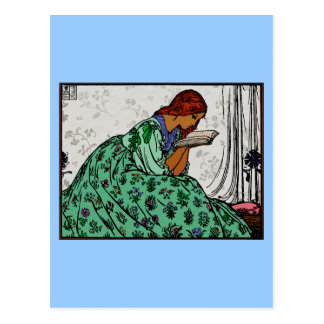 赤毛の女性緑の服の読書 ポストカード
