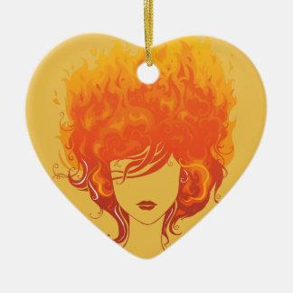 赤毛の女性、赤い火の毛 陶器製ハート型オーナメント