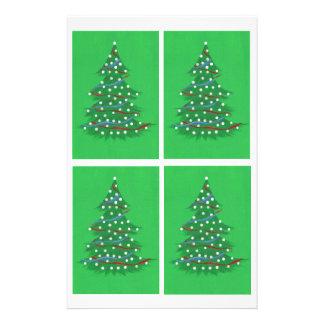 赤白青のクリスマスツリーのスクラップブックの紙 便箋