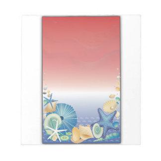 赤白青のヒトデの貝のモンタージュ ノートパッド