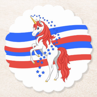 赤白青の愛国心が強いアメリカのユニコーン ペーパーコースター