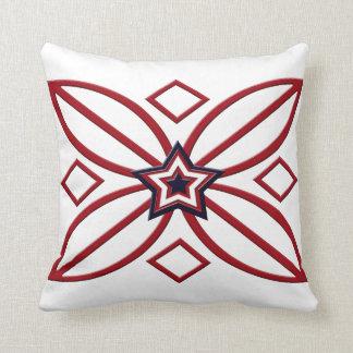 赤白青の星のオーナメントの枕 クッション