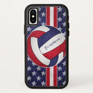 赤白青の星のストライプな女性のバレーボール iPhone X ケース