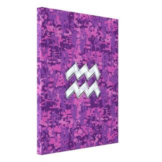 赤紫のデジタル迷彩柄のアクエリアスの(占星術の)十二宮図の記号 キャンバスプリント