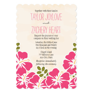 赤紫のハイビスカスのハワイアンの結婚式招待状 カード