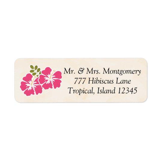 赤紫のハイビスカスの熱帯テーマのハワイ語 返信用宛名ラベル