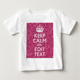 赤紫のピンクにあなたの文字があるために平静を保ちます ベビーTシャツ