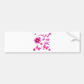 赤紫のピンクのダリア及び蝶白パターン バンパーステッカー