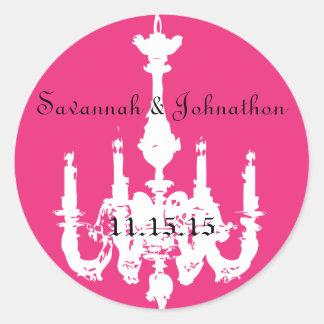 赤紫のピンクのヴィンテージのシャンデリアの結婚式用シール ラウンドシール