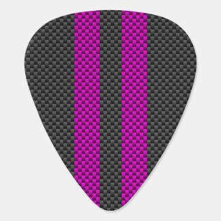 赤紫のピンクの競争はカーボン繊維のスタイルで縞で飾ります ギターピック