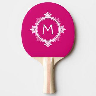 赤紫のピンク及び白の雪片のリースのモノグラム 卓球ラケット