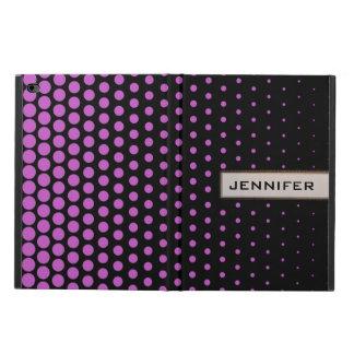 赤紫の水玉模様のモダンの黒 POWIS iPad AIR 2 ケース