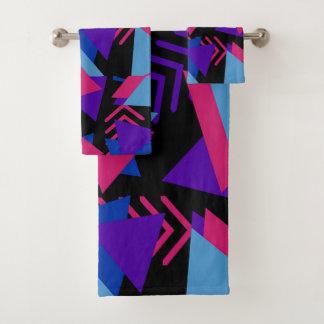 赤紫の紫色の青く幾何学的な浴室タオルセット バスタオルセット
