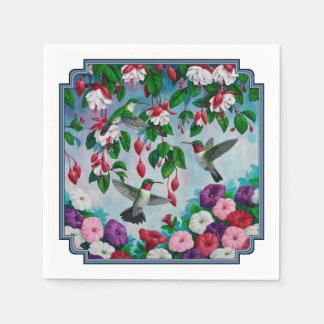 赤紫の花園のハチドリ スタンダードカクテルナプキン