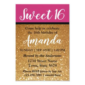 赤紫の金ゴールドのグリッターの菓子16匹の誕生日の招待状 カード