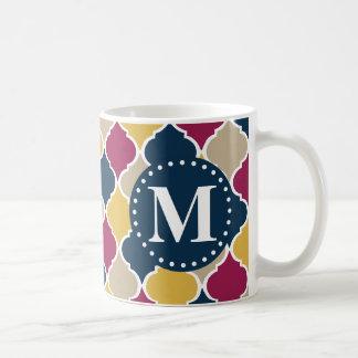 赤紫海軍モロッコの格子モノグラム コーヒーマグカップ