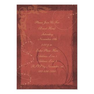 赤茶色の渦巻のデザインの招待状 カード