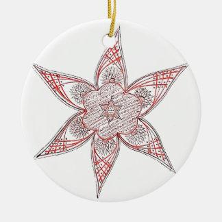 赤茶色の花のデザイン セラミックオーナメント