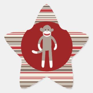 赤茶色赤い円のかわいいソックス猿は縞で飾ります 星シール