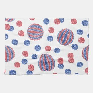 赤青い球が付いている台所タオル キッチンタオル